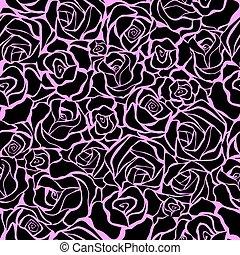 motívum, fekete, seamless, agancsrózsák
