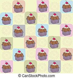 motívum, gyerekes, cupcakes, seamless