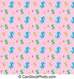 motívum, ikon,  dollár,  seamless, pénz