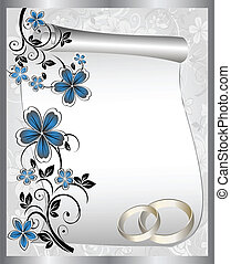 motívum, kártya, esküvő, virágos