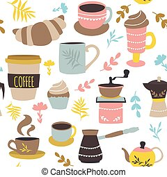 motívum, kávécserje, cukrászsütemény, seamless