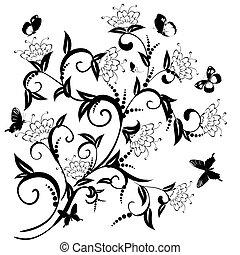 motívum, közül, virág bozót, noha, pillangók