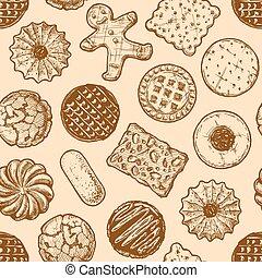 motívum, különböző, ízletes, seamless, cookies.