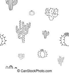 motívum, kaktusz, elszigetelt, vektor, seamless, háttér, fehér