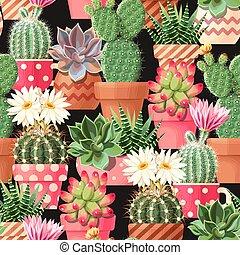 motívum, leveses, kaktusz, magas, seamless, részletez
