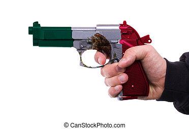 motívum, lobogó, pisztoly, mexikói, kéz
