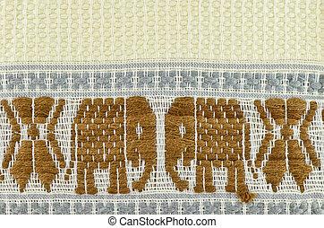 motívum, mód, elefánt, thai ember, ruhaanyag