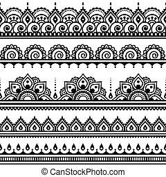 motívum, mehndi, indiai, tetovál, hennabokor