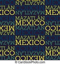 motívum, mexikó, seamless, mazatlan