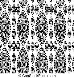 motívum, motívum, seamless, zöld, vektor, black háttér, virágos, fehér