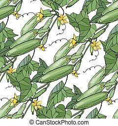 motívum, növényi, seamless, struktúra, uborka, white., ...