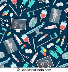 motívum, orvosi, seamless, sebészet, részlet