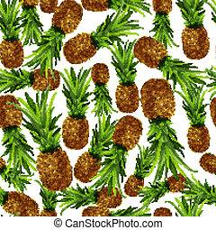 motívum, seamless, ananász