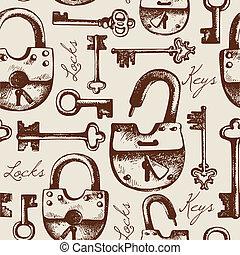 motívum, seamless, bezár, kulcsok, szüret, kéz, húzott