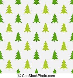 motívum, seamless, csinosítja magát, zöld fa, karácsony, erdő