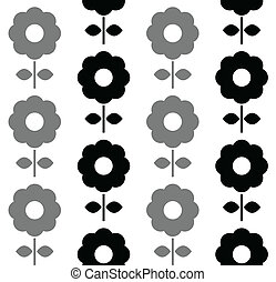 motívum, -, seamless, fekete, virágos, fehér