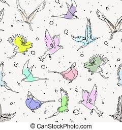 motívum, seamless, kéz, egyedülálló, művészi, húzott, egyenes, madarak