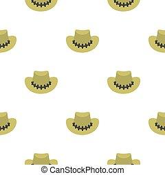 motívum, seamless, kalap, cowboy