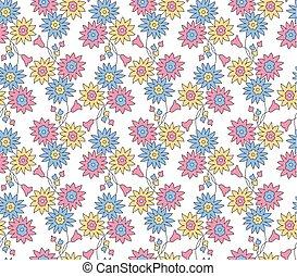 motívum, seamless, kicsi, háttér, virágos, fehér