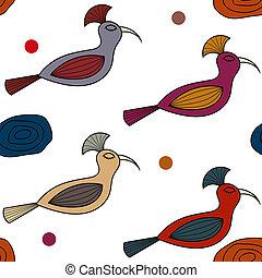 motívum, seamless, madarak