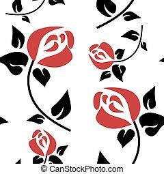 motívum, seamless, piros rózsa