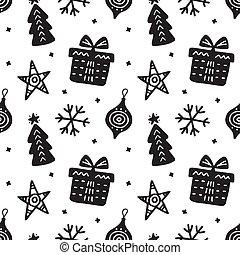 motívum, seamless, skandináv, húzott, kéz, karácsony