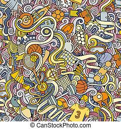 motívum, seamless, sport, doodles, húzott, kéz