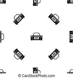 motívum, seamless, sport, nagy, táska, fekete