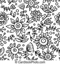 motívum, seamless, virágos