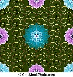 motívum, seamless, zöld, virágos
