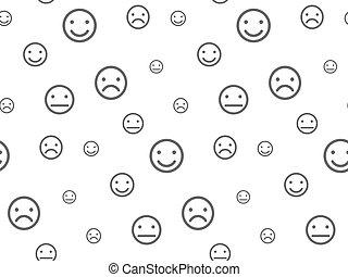 motívum, smiley, seamless, arc