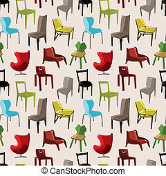 motívum, szék, seamless, berendezés