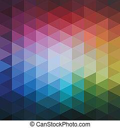 motívum, színes, elvont, vektor, háromszögek