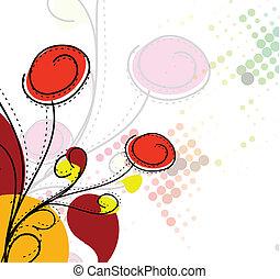 motívum, színes, elvont, virág, eredet