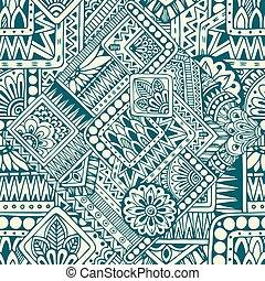 motívum, szórakozottan firkálgat, geometriai, etnikai, retro, seamless, háttér, virágos, elements., vector., ázsiai