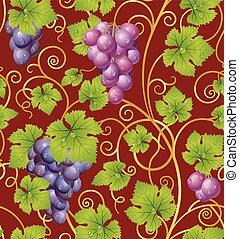 motívum, szőlő, seamless