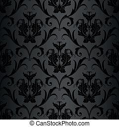 motívum, tapéta, fekete, seamless