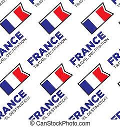 motívum, utazás célállomás, seamless, francia france, lobogó, nemzeti