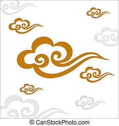 motívum, vektor, kínai, felhő