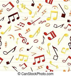 motívum, zene, seamless, színes