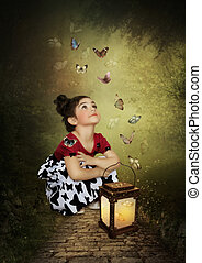 motýl, holčička