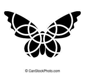 motýl, icon., mozaika, motýl, clipart., monochromatic., osamocený