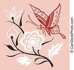motýl, ilustrace, s, květ