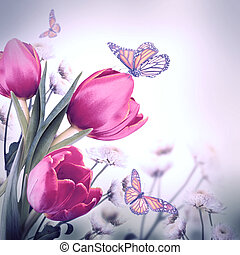 motýl, kytice, tulipán, na, tajnůstkářský background, červeň