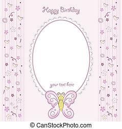 motýl, narozeniny karta