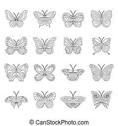 motýl, neposkvrněný, dát, temný grafické pozadí, vektor, ilustrace
