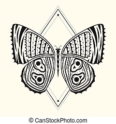 motýl, zentangle, 4