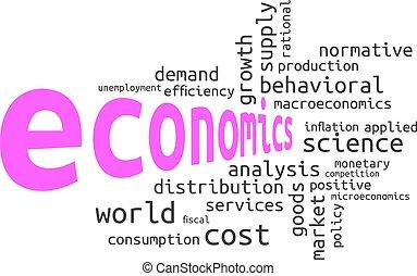 mot, économie, -, nuage