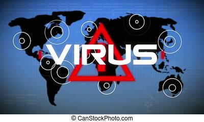 mot écrit, bleu, carte, virus, triangle, mondiale, fond, sur...