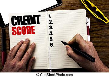 mot, écriture, crédit, score., concept affaires, pour, financier, classement, enregistrement, écrit, sur, livre, bois, fond, à, homme affaires, main, doigt, écriture, sur, les, notebook.